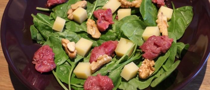 Recette : Salade de pousses d'épinard, gésiers et Abondance