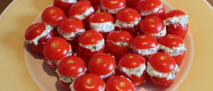 Recette : Tomates cerises au chèvre frais & ciboulette