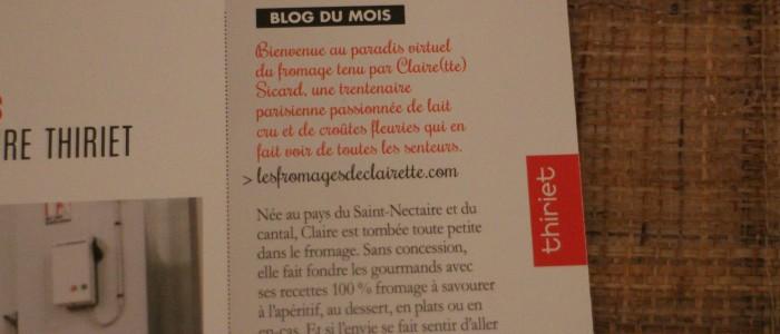 Un petit article dans le magazine Thiriet spécial Fromages